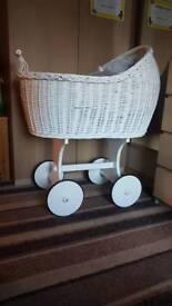 Babies wicker basket crib on Wheels