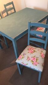 Shabby chic vintage dinning table and floral pattern chair set