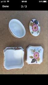 Two Victoria Bone China trinket boxes