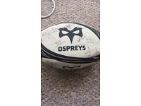 Signed ospreys rugby ball