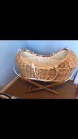 Wicker Moses Basket and bedding