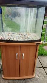 Fish tank on cupboard stand