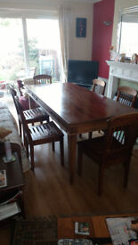 Solid Wood Dining Table, with chairs (Please make an offer)
