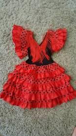 Spanish flamenco toddler's dress. Red 1-2years