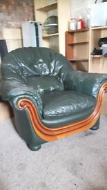 Green Leather Sofa and Chair for Sale