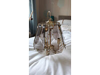 Brass effect 3 candle chandelier