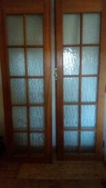 Hardwood French doors with mottled glass