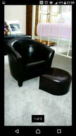 Kids/childrens Faux brown leather tub chair and stool