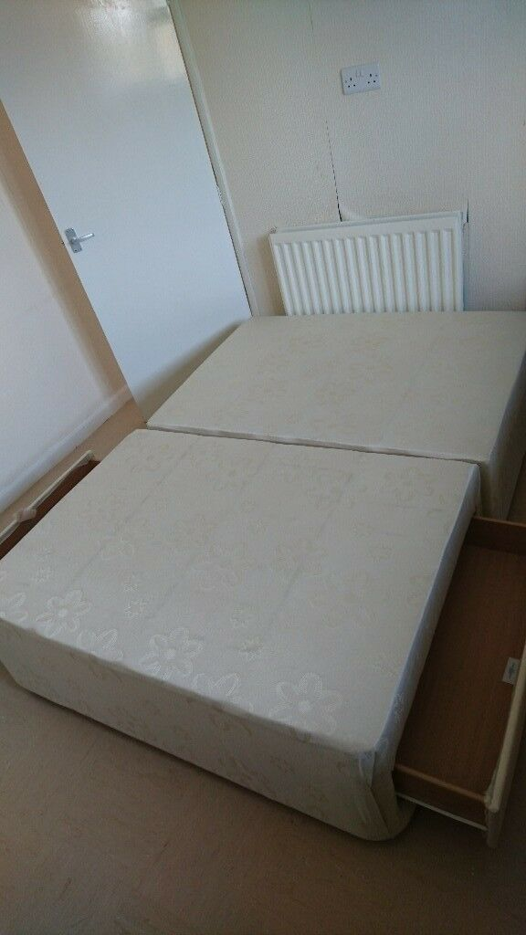 Sprung Divan Base Only Double Bed Refurbished With Two