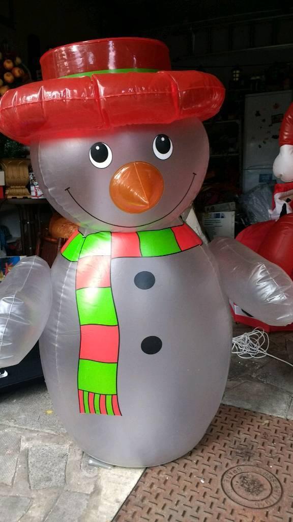 Santa & Snowman 4ft Inflatable
