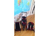 Doll double buggy, bouncy chair and cot