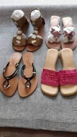 Ladies shoes sandals flip flops size 7 pink black