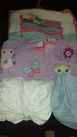 cot with mattress and 2 bedding set 3sheets. used condition