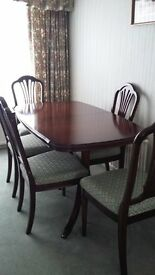 William Bartlet Strongbow Dining Room Furniture including Table , 6 Chairs and Large Cabinet.