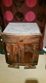 Coralstone topped bedside table/cabinet