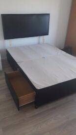 Storage double bed and headboard with 4 drawers. Perfect condition.