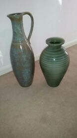 2 x Large vases, one jug shape the other baluster. Excellent condition.