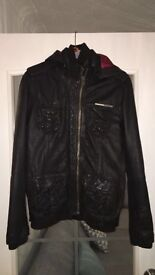 Superdry Brown Hooded Leather Jacket Size Small