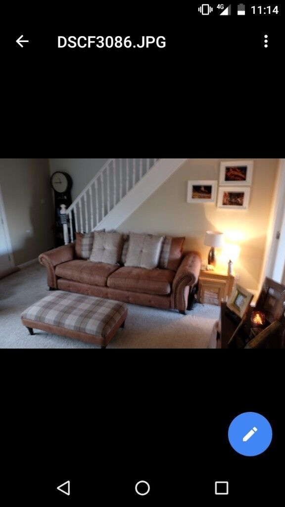 DFS sofa, armchair and footstool for sale