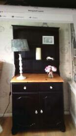 Painted black Welsh Dresser with crystal handles