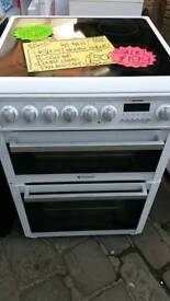 HOTPOINT ELECTRIC COOKER EX CATALOGUE DOUBLE OVENS WITH FAN ASSISTED OVEN 60cm wide.