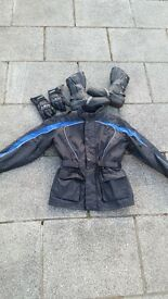 motorbike jacket, gloves and boots