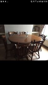 Dining room table with 6 chairs heavy solid oak