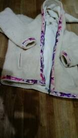Pachamama padded knitted cardigan, 100% wool, handmade