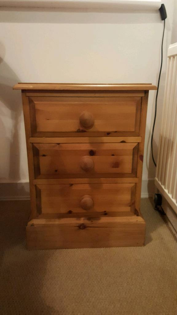 Lovely antique pine real wood cabinet / drawers / bedside / table
