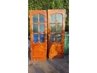 Lockable double wooden doors
