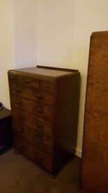 Vintage 1920s-40s walnut chest of drawers good clean usable condition