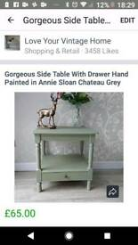Lamp Table with Drawer Hand Painted in Annie Sloan Chateau Grey