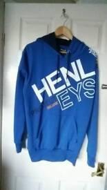 Mens Henleys Large Blue Hoody