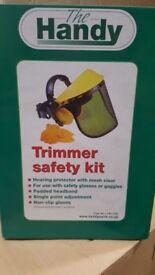 Trimmer safety kit and trimmer starter kit