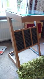 Glass stand with cd rack