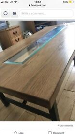 Oak Coffee Table with Glass centre and Metal Frame. Very heavy! Very sturdy!