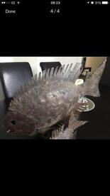Amazing metal fish sculpture, very interesting design