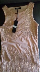 Brand new beaded dress baby pink size 10