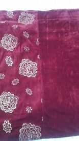 """Reduce price. Velvet curtains maroon with gold pattern on the side panel 66""""x 54 """" Brand new."""