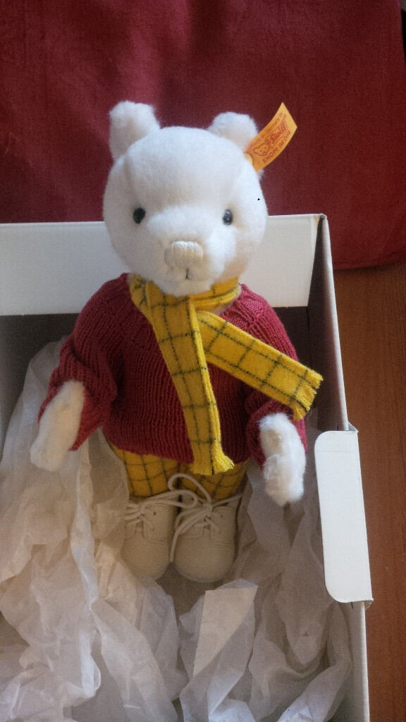 Steiff Rupert the Bearin StirlingGumtree - Steiff Rupert the Bear. Comes with box. Both in excellent condition, Rupert still has the Steiff tag attached to his leg (see pic)