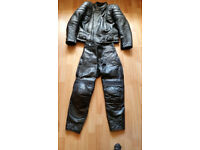 Motorbike Leather Jacket and Leather Trousers, Boots and Full Face Helmet