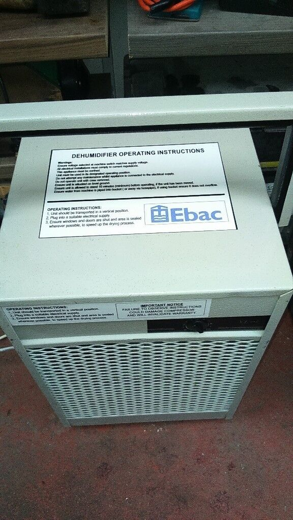 INDUSTRIAL DEHUMIDIFIER/LARGE DOMESTIC HIGH SPEED FAN FITTED AND LARGER COMPRESSOR CONSTANT DRAIN