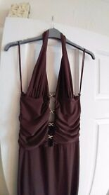 Sexy brown evening dress. Size 12 - 14