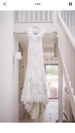 Beautiful ivory/silver lace fishtail wedding dress size 8-10