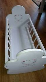 Wooden doll crib and moses basket