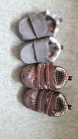 2 pairs of baby pram shoes (3-6 and 12-18 months)