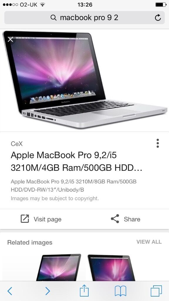 MacBook Pro 9,2in Ashton under Lyne, ManchesterGumtree - Used MacBook Pro 9,2 500gb memory 4gb ram Good condition with box COLLECTION ONLY