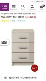 Brand new prague gloss white bedside cabinet