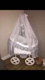 Immaculate condition baby crib grey and white
