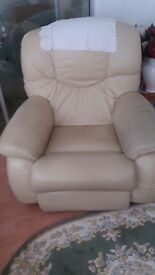 Beige leather recliner chair - good condition. Collection only no delivery.